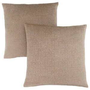 "18""x18"" Pillow, Taupe Mosaic Velvet, Set of 2"