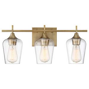"Bathroom Vanity 3-Light With Warm Brass Finish Incandescent Bulb 21"" 300W"