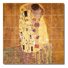 "Gustave Klimt Abstract Painting Ceramic Tile Mural #22, 30""x30"""