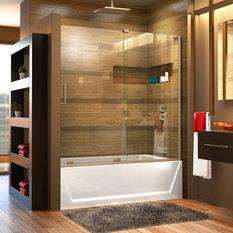 "Mirage-X 56"" Frameless Tub Door, Brushed Nickel, Right Wall Installation"