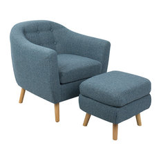 LumiSource Rockwell Chair With Noise And Ottoman, Blue