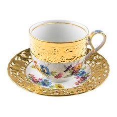Porcelain Manufactory GLORIA - Gloria Porcelain Coffee Cup and Saucer With Summer Flowers - Cappuccino & Espresso Cups