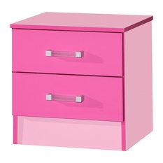 Marina Modern Bedside Cabinet, Pink
