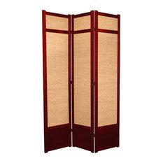7' Tall Jute Shoji Screen, 3 Panel, Rosewood