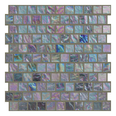 "11.63""x11.63"" Offset Crystal Glass Mosaic, Set Of 4, Silver Fizz"