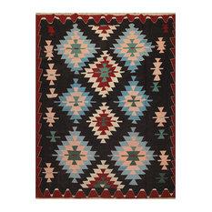 """Black Blue Color Persian Rug, 6'2""""x8'4"""""""