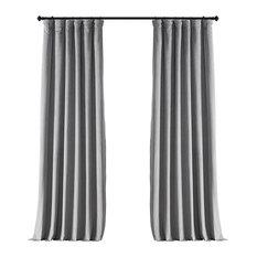 "Signature Silver Gray Blackout Velvet Curtain Single Panel, 50""x96"""