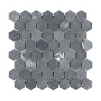 "11.13""x11.13"" Ridge Hexagon Mosaic Floor/Wall Tile, Black"