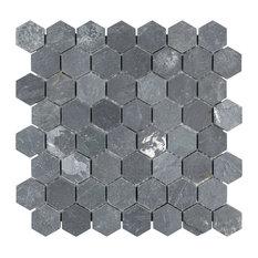 "11.13""x11.13"" Ridge Hexagon Mosaic Floor/Wall Tile, Black"