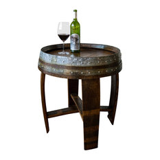 """Banded Wine Barrel Side Table With Cross-Braces, 24"""" tall"""