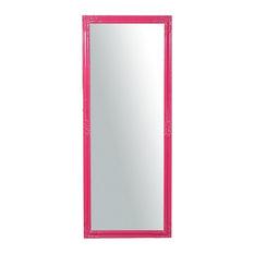 Carved Corner Slim Full Length Wall Mirror, Fuchsia, 72x180 cm