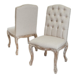 GDF Studio Jolie Linen Dining Chairs, Beige, Set of 2