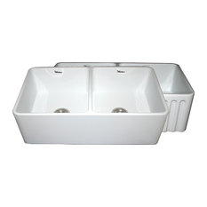 """Reversible Series Fireclay Sink, White, 33""""X10"""""""