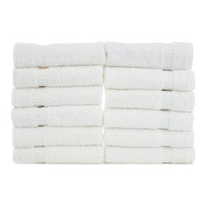 Dobby Border Luxury Hotel and Spa Washcloths, Set of 12, White