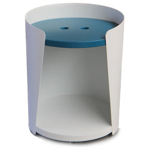 Armand Side Table, White, Petrol Blue Button Tabletop
