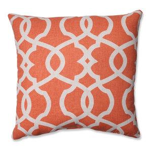 "Lattice Damask Blue 16.5"" Throw Pillow, Tangerine"