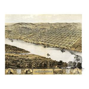 24x36 Vintage Reproduction Historic Map Lawrence Kansas Douglas County 1869