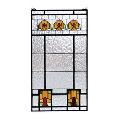 "Meyda Lighting 68104 18""W x 32""H Aurora Dogwood Stained Glass Window"