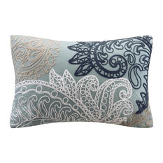 Beautiful Kiran Soft Blue Pillow Embroidered With White, Taupe and Navy, 12 x 18