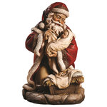 NAPCO - Santa With Baby Jesus Figurine - On this day a child is born. Celebrate both faith and wonder this season with a sculpt of Santa's love for all of the little children.