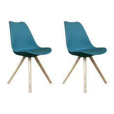 Scandi Style Dining Side Chair, Pyramid Beech Wood Legs, Teal, Set of 2