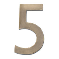 "4"" Floating House Number Antique Brass, ""5"""