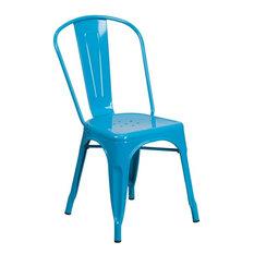 Crystal Blue Metal Indoor Outdoor Stackable Chair