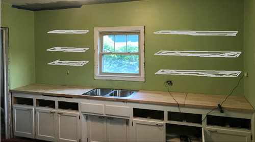 Open Kitchen Shelving With Unevenly Spaced Studs