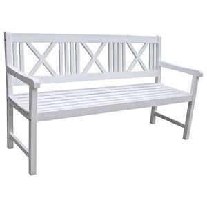 Malmö White Outdoor Bench, 3 Seater