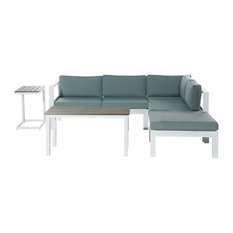 Messina White Metal 5-Piece Garden Lounge Set With Green Cushions