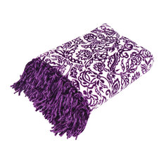 "Fringe Throw with Damask Print, Purple, 50""x70"", Damask"