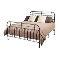 GDF Studio San Luis Queen Size Charcoal Iron Bed, Champagne
