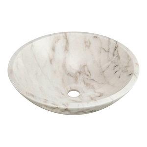 "Granite Vessel Sink, White, 16.5"""