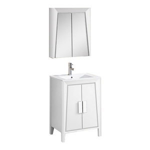 """Fine Fixtures Imperial II Collection Vanity With Cabinet, White, 24"""""""