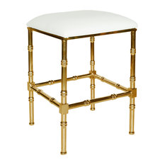 Bamboo Counter Stool, Seat: White, Base: Brass, Material: PU Leather