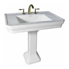 Pedestal Sink White Large Vitreous Victorian with Widespread Faucet Holes
