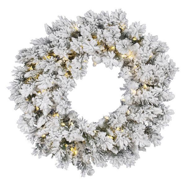 Vickerman Flocked Snow Ridge Wreath, Warm White LED Lights, 36
