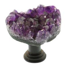 Dark Amethyst Stone Knob