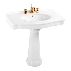 Renovatoru0027s Supply   White China Pedestal Sink Widespread Faucet Holes With  Overflow   Bathroom Sinks