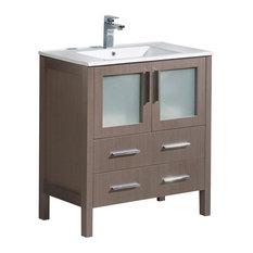 Fresca Torino 30-inch Modern Bathroom Cabinet With Integrated Sink Gray Oak