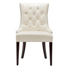 Safavieh   Safavieh Amanda Tufted Leather Chair, Ivory   Dining Chairs
