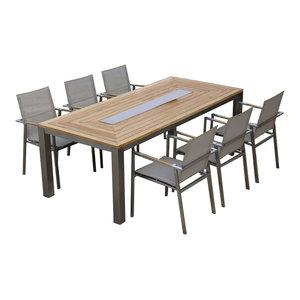 Teak Steel Dining Table Set, Signature & Alzette Collection McGill Teak & Patio