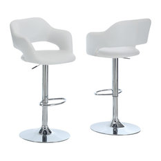 Barstool, Chrome Metal Hydraulic Lift, White
