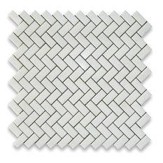 "12""x12"" Thassos White Herringbone Mosaic Tile Honed, Chip Size: 5/8""x1.25"""