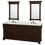 """WYNDHAM COLLECTION - 80"""" Double Vanity,Dark Cherry,White Carrara Marble Top,Oval Sinks,28"""" Mirrors - A classic edition to the Wyndham Collection, the beautiful Andover bathroom vanity series represents an updated take on traditional styling. The Andover is a keystone piece, with strong, classic lines and an attention to detail. The vanity is hand carved and stained and comes in black, dark cherry and white finishes. Choose a natural stone countertop in a variety of different options cut with a beautiful beveled edge. Available in a range of single or double vanity sizes to fit any bathroom."""