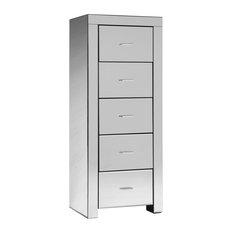 Charles Bentley Mirrored Glass Furniture 5-Drawer Tallboy Chest Cabinet