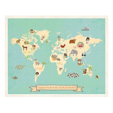 Global Compassion World Map 24x18 Children's Wall Art Poster