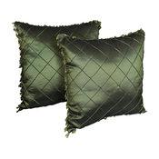 "18"" Beaded Satin Sheen Polyester Throw Pillows, Set of 2, Hunter Green"