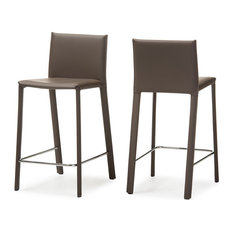 Baxton Studio Crawford 25-inch Leather Counter Stool In Taupe (Set Of 2)