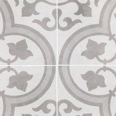 TileBar - Cascais  9x9 Matte Porcelain Tile, Gray + White - Wall and Floor Tile
